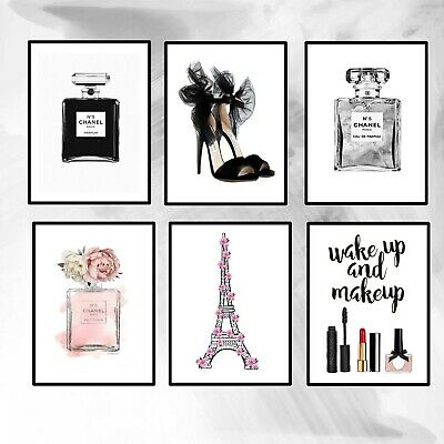 6 X Chanel PERFUME BOTTLE ART PRINTS FOR HOME DECOR FASHION PRINTS SIZE A5