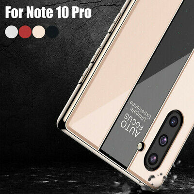 For Samsung Galaxy Note 10+ S10 S9 Tempered Glass Back Hybrid Plating Case Cover