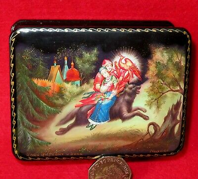 GICLEE LACQUER Box Fairy tale Tsarevitch Ivan Fire Bird & Gray Wolf small signed