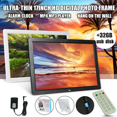 32G + 17'' HD 1080P HD LED Digital Photo Picture Frame MP4 MP3 Player Tabletop