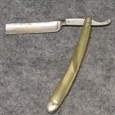 """Geo Worthington Co. Germany 6-1/2"""" Straight Razor Clearcut Pearlescent Celluloid"""