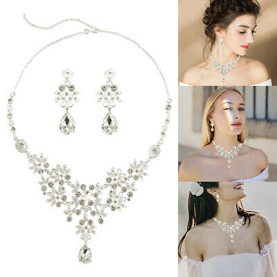 Bridal Crystal Necklace Earrings Jewelry Set Wedding Party Rhinestone Jewellery