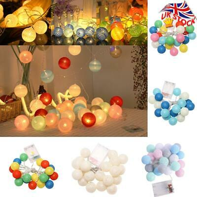 Mains Plug In Battery Home Lights String Fairy Mix Colour LED Cotton Globe Ball