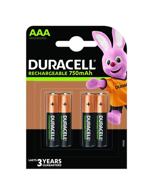 4 piles AAA DURACELL rechargeables HR03 750 mAh
