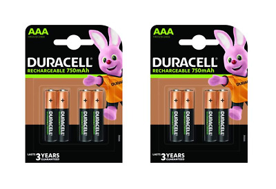 8 piles AAA DURACELL rechargeables HR03 750 mAh