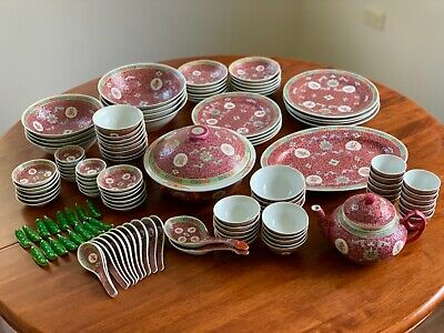 Vintage Chinese Famille Rose Pink porcelain dinner set and tea set 122 piece