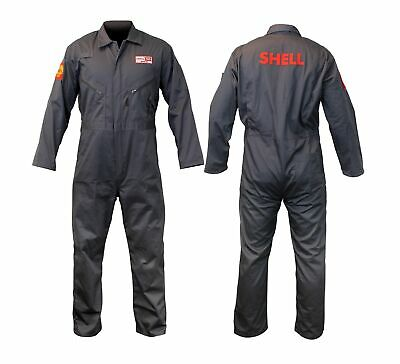 OVERALLS Shell Motor Oil Coverall Retro Heritage Boiler Suit NEW! Grey