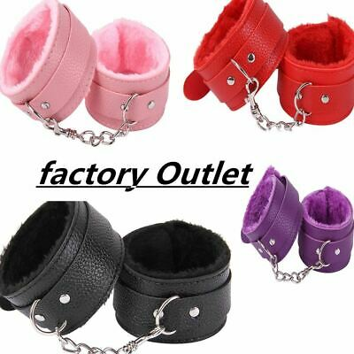 Sexy Adjustable PU Leather Plush Handcuff Ankle Cuff Restraints Bondage Sex Toy