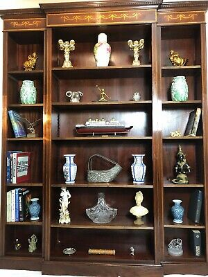 1 Large English Regency Sheraton Style Inlaid Mahogany Open Breakfront Bookcase
