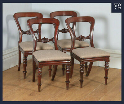 Antique English Victorian Set of Four Mahogany Balloon Back Dining Chairs c1870