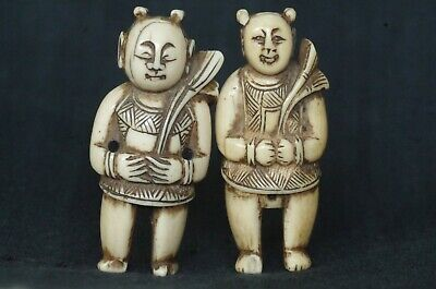 Antique Chinese figurine pair - marin fossil -  China