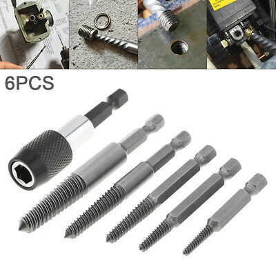 6PCS Broken Damaged Bolt Remover Easy Out Screw Extractor Drill Bits Guide Set