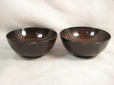 Antique Japanese Set Of 2 Meiji Era Hand Turned Wooden Brown Lacquer Bowls