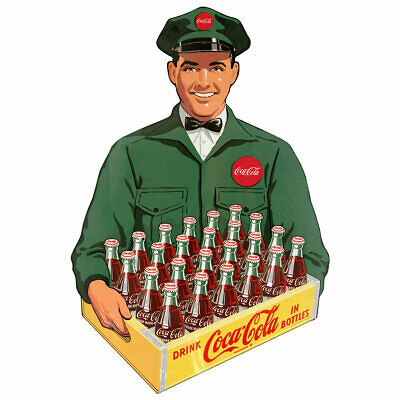 Coca-Cola Crate Delivery Man 1950s Wall Decal Vintage Style Kitchen