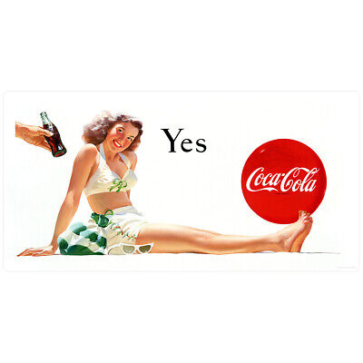 Coca-Cola Beach Girl Yes Wall Decal 24 x 12 Bathing Beauty Vintage Style