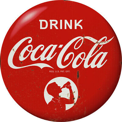 Drink Coca-Cola Red Disc Decal 24 x 24 Boy Silhouette 1930s Style Distressed