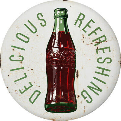 Coca-Cola Delicious Refreshing Bottle Disc Decal 24 x 24 White Distressed