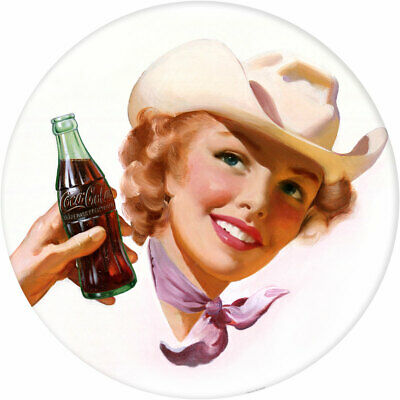Coca-Cola Girl Cowgirl Hat 1940s Style Decal 24 x 24 Coke Kitchen Decor