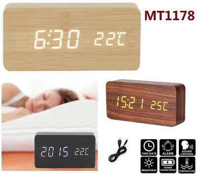 Wooden Alarm Clock Silent Voice Control Time Temperature Device Digital Clocks
