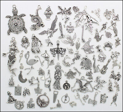 76 Styles Wholesale Antique Silver Jewelry Findings Charms Pendants Carfts DIY
