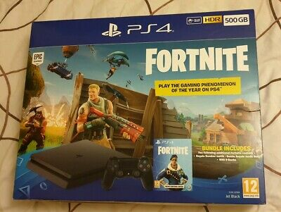 PS4 Slim 500GB Fortnite Battle Royal Bundle Console - Royal Bomber Pack DLC New