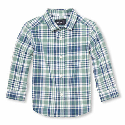 NWT The Childrens Place Toddler Boys Green Plaid Long Sleeve Button Down Shirt