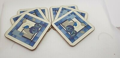 Pimpernel Rennie Mackintosh Style Blue  6 Coasters Debbie Halliday