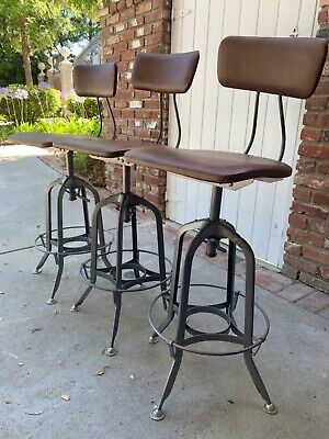 3 Restoration Hardware 1940's / 1940s Vintage Toledo Leather Bar Stools