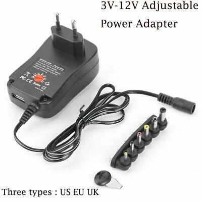 30W Multi-Voltage 3-12V Adjustable AC/DC Power Supply Switch US/EU/UK Adapter