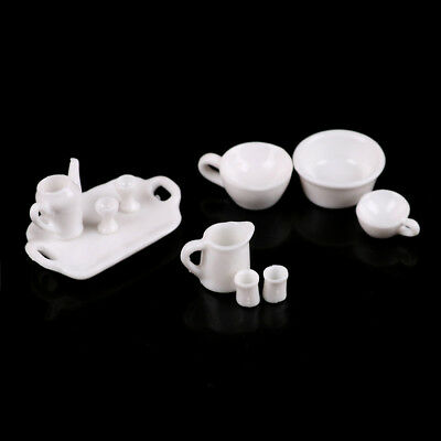 10pcs 1/12 Dollhouse Miniature Kitchen Toy Tray Cup Dish Tableware Set GVUS