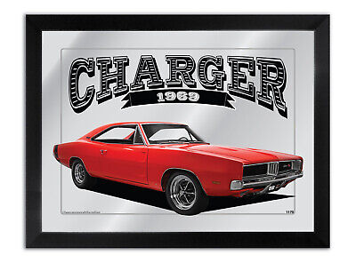Bar Mirror Artwork Suit Red 1969 Dodge R/T Charger Enthusiast