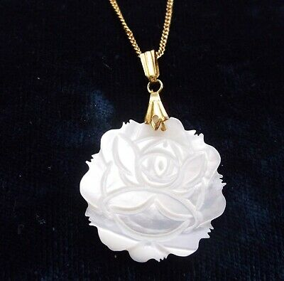 Vintage Carved Mother Of Pearl Rose Flower Pendant Necklace