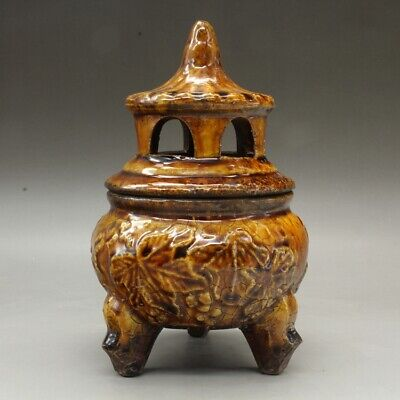 Chinese old hand-carved porcelain yellow glaze three foot incense burner d02