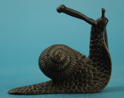 chinese old  copper Hand carving zoology snail Lifelike statue  c02