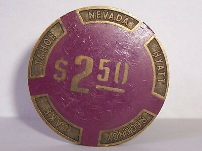 Hyatt Regency Casino Chips Brass Purple $2.50 Poker Heavy Chip Lake Tahoe