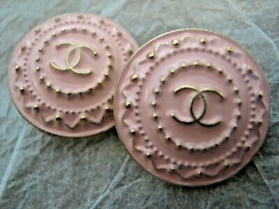 CHANEL 2 pink BUTTONS lot of 2 sz 19mm gold metal  cc logo, 2