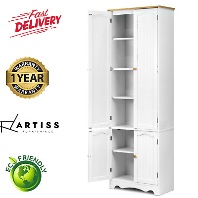 1.8M Two Tone Cupboard 4 Door Storage Pantry Linen Laundry Kitchen Cabinet White