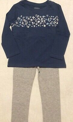 NWT Gymboree Blue Silver Graphic Top Gray Leggings 2T Outfit Fall BTS RV $35