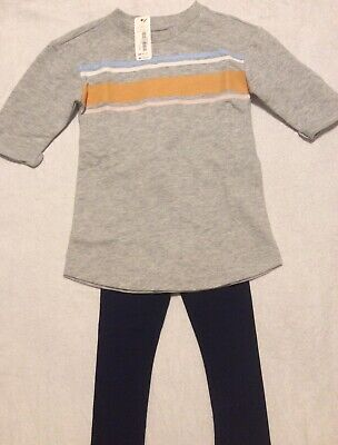 NWT Gymboree Striped Gray Top Navy Blue Leggings 2T Outfit Fall BTS RV $45