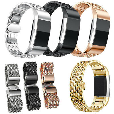 Luxury Stainless Steel Band Wrist Watch Strap Bracelet For Fitbit Charge 2 / 2HR