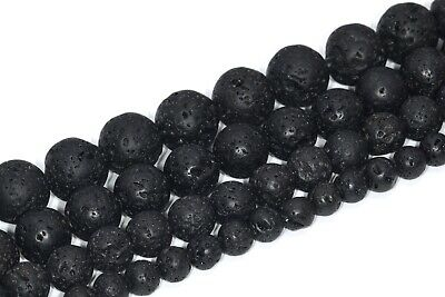 Natural Black Volcanic Lava Beads Grade AA Round Loose Beads 4/6/8/10/12MM