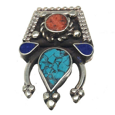 Turquoise Lapis Coral Focal Spacer Silver Plated Jewelry Findings Nepal SP95 a