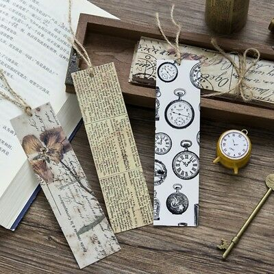 30Pcs Paper Bookmark Vintage Retro Flower Book Mark For School Chinese Style AU