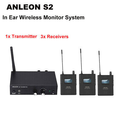 UHF Stereo Monitor System Wireless IEM Stage Headphone 1 Transmitter+ 3 Receiver