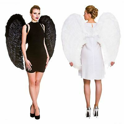 Adults Feather Wings Giant Angel White Black Fancy Dress Gothic Halloween 95cm