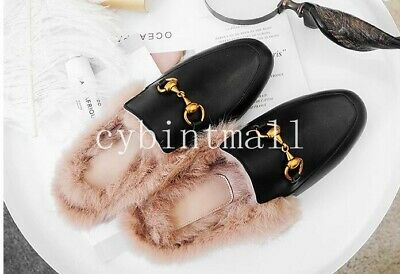 Women's Rabbit-fur Lined Real Leather Princetown Slip On Loafers Slippers Mules