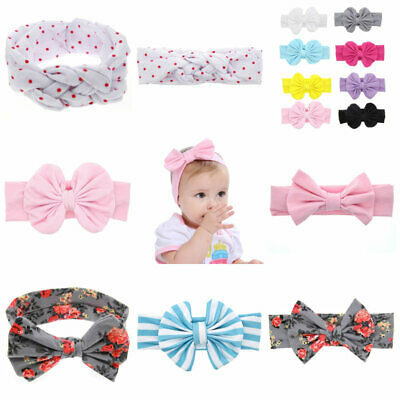 Elegant Floral Bow Knot Baby Infant Headband Elastic Hair Band Wrap Accessory