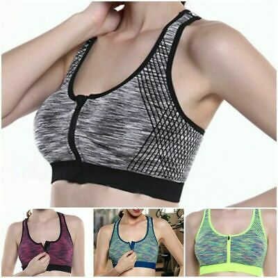 Womens Ladies Sports Bra High Impact Front Zip Push Up Wireless Padded Vest Top