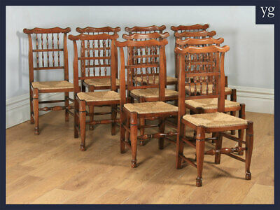 Antique Set of Ten 10 Georgian Style Ash Elm Spindle Back Kitchen Dining Chairs