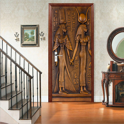 3D Wall Art Ancient Egyptian Door Sticker PVC Decal Self-adhesive Wrap Mural